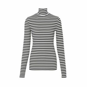 Burberry Striped Stretch Jersey Turtleneck Top