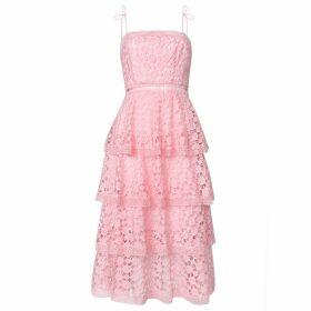 True Decadence True Decadence Pink Organza Cut Work Lace Tiered Midi Dress