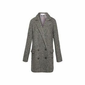 Gerard Darel Short Virgin Wool Houndstooth Pandi Coat