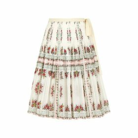 Tory Burch Floral-print Pleated Cotton-blend Skirt