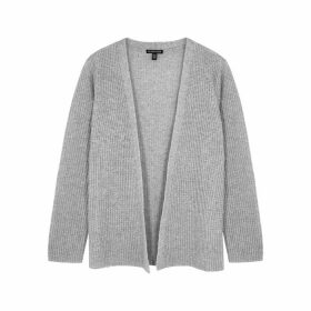 EILEEN FISHER Grey Ribbed Cashmere Cardigan