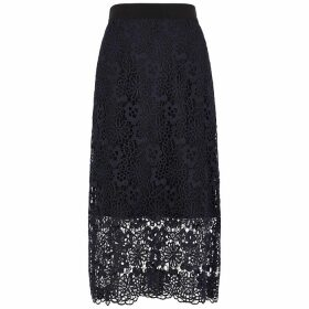 Victoria, Victoria Beckham Navy Floral Guipure Lace Skirt