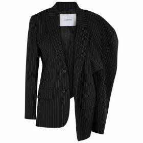 PushBUTTON Black Pinstripe Wool-blend Blazer