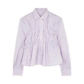 PushBUTTON Checked Cotton Blouse