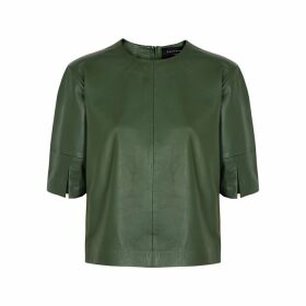 Equipment Abdelle Green Leather Top
