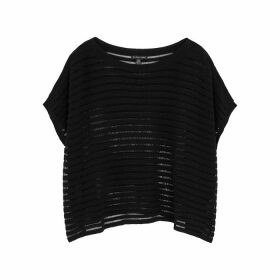 EILEEN FISHER Black Laddered Stretch-knit Top