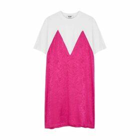 MSGM Panelled Cotton And Satin T-shirt Dress
