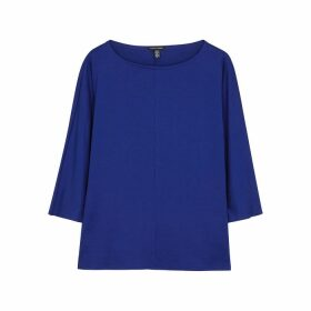 EILEEN FISHER Cobalt Blue Stretch-jersey Top