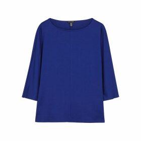 EILEEN FISHER Cobalt Blue Stretch-jersey Top
