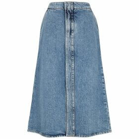 Stella McCartney Blue Stretch-denim Midi Skirt