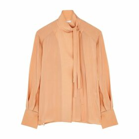 Chloé Pink Stripe-jacquard Silk Blouse