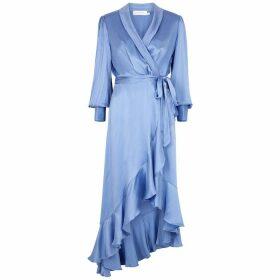 Zimmermann Super Eight Blue Silk-satin Wrap Dress