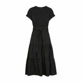 Veronica Beard Trail Black Jersey And Poplin Dress