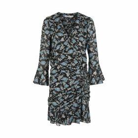 Veronica Beard Sean Floral-print Ruched Silk Dress