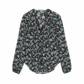 Veronica Beard Lowell Floral-print Silk-chiffon Blouse
