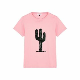 Bella Freud Cactus Pink Flocked Cotton T-shirt