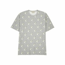 Maison Kitsuné Grey Fox-print Cotton T-shirt