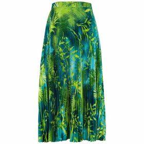 Versace Palm Leaf-print Pleated Satin Midi Skirt