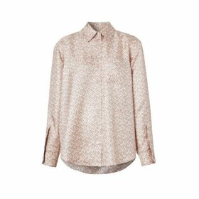 Burberry Monogram Print Silk Twill Shirt