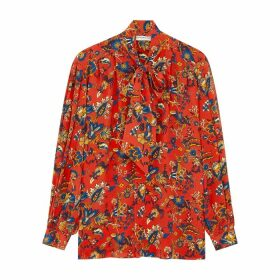 Givenchy Red Printed Silk Crepe De Chine Blouse