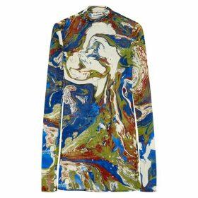 Jil Sander Marble-print Fine-knit Silk Top