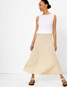M&S Collection Linen Ribbed Midi Skirt