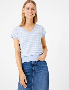 M&S Collection Linen Striped Ribbed V-Neck Knitted Top