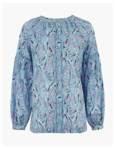 Per Una Pure Cotton Printed Blouson Sleeve Blouse