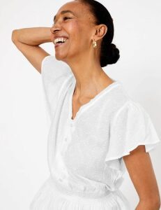 M&S Collection Pure Cotton Waisted Short Sleeve Blouse