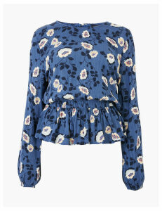 M&S Collection Floral Waisted Long Sleeve Blouse