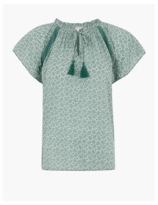 Per Una Pure Cotton Leaf Print Short Sleeve Blouse