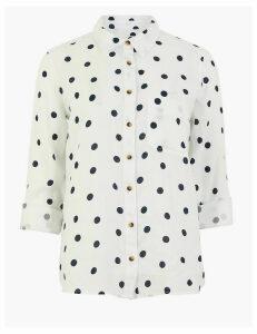 M&S Collection Pure Linen Polka Dot Long Sleeve Shirt