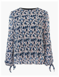 M&S Collection Plisse Floral Regular Fit Long Sleeve Blouse