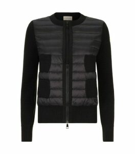 Moncler Quilted Panel Zip-Up Cardigan