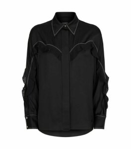 Sandro Paris Pleated-Trim Shirt