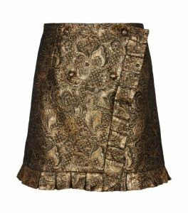 Sandro Paris Metallic Floral-Embroidered Skirt