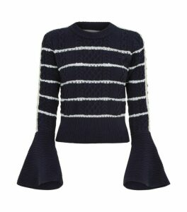 Self-Portrait Flute Sleeve Stripe Sweater