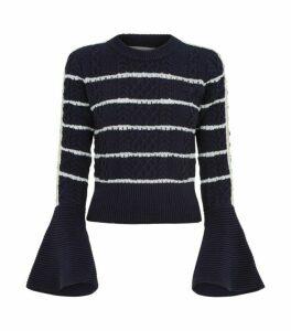 Self-Portrait Flute Sleeve Stripe Sweater
