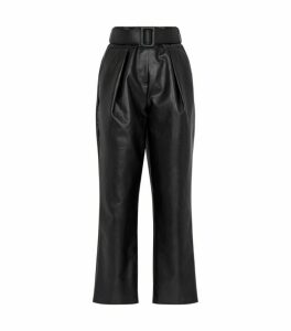 Self-Portrait Faux Leather High-Waist Trousers