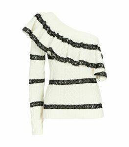 Self-Portrait One-Shoulder Lace-Trim Sweater