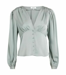 FRAME Silk Empire Pleat Blouse