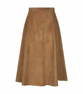 Max Mara Suede A-Line Midi Skirt