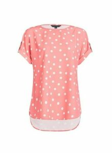 Womens Coral Spot Print Tee, Coral