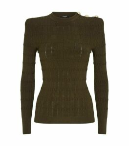 Balmain Button-Embellished Knit Sweater