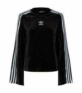 adidas Originals Flared Sleeve Velvet Sweater