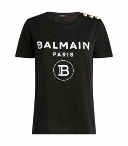Balmain Button-Embellished Logo T-Shirt