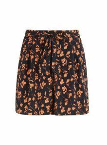 Womens Black And Orange Floral Print Stem Shorts, Black