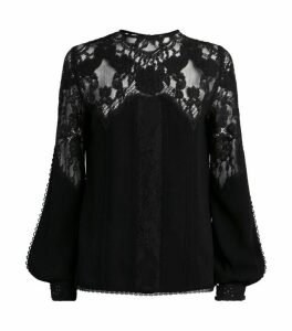 Costarellos Long-Sleeved Lace Top