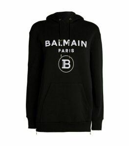 Balmain Flocked Logo Hoodie