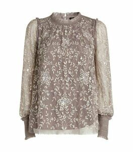 Needle & Thread Embroidered Tulle Whitethorn Blouse